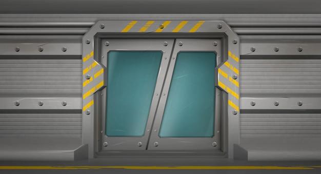 Puerta de metal, puertas correderas en el pasillo de la nave espacial