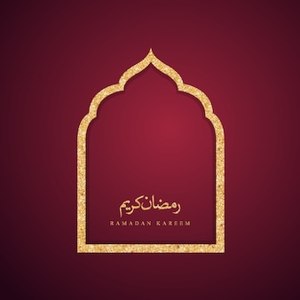 Puerta de mezquita de diseño islámico para fondo de saludo ramadán kareem