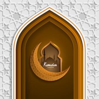 Puerta de mezquita de patrón islámico ramadan kareem