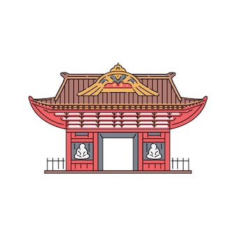 Puerta del pabellón de la pagoda japonesa o china