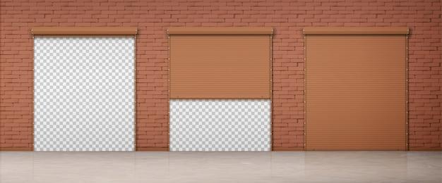 Puerta con persiana marrón en pared de ladrillo