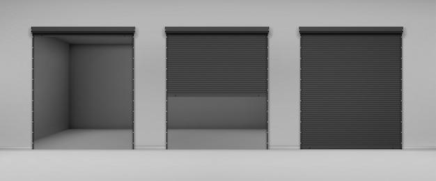 Puerta con persiana negra en pared gris
