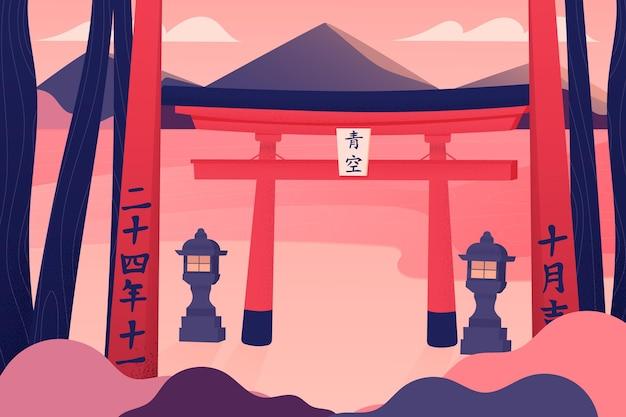 Puerta torii antigua con linternas