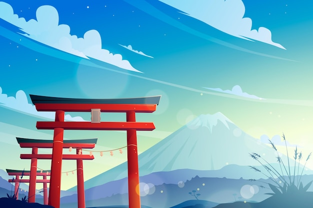 Puerta torii y montaña fuji