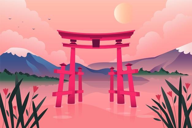 Puerta torii rodeada de agua