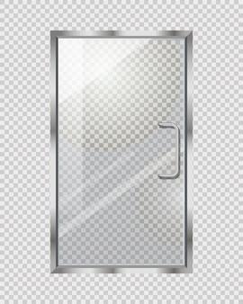 Puerta transparente sobre cuadros grises