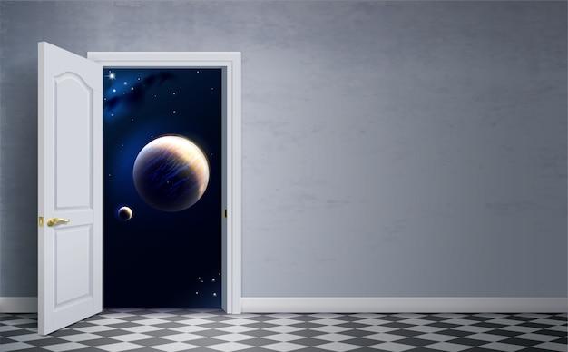 Puertas abiertas en el espacio. habitación del hotel espacial. concepto. viaje espacial