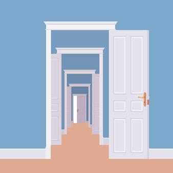 Las puertas se abren en muchas habitaciones.