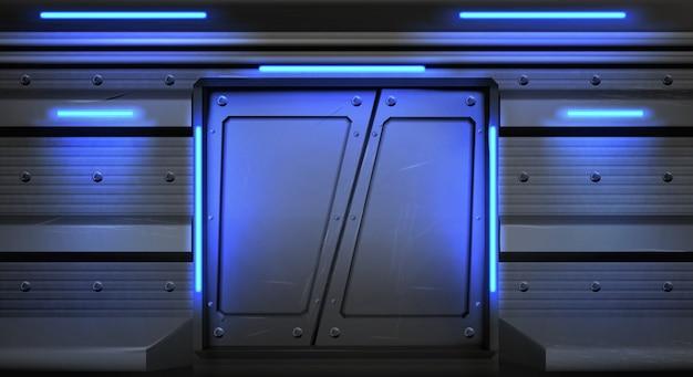 Puertas corredizas de metal antiguo con lámparas de neón brillantes en nave espacial, submarino o laboratorio.