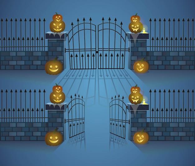 Puertas de halloween. puertas abiertas y cerradas con calabazas. ilustración de vector de estilo de dibujos animados.