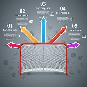 Puertas de hockey realistas - infografías de negocios.