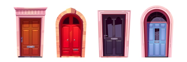 Puertas de madera con jambas de piedra, manijas de metal y ranura para correo