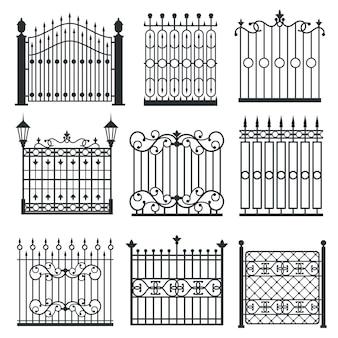 Puertas metálicas de hierro, rejas, set de vectores cercas.