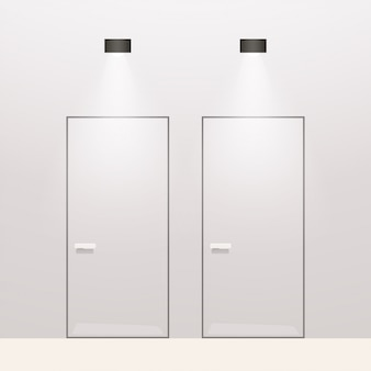 Puertas modernas de wc sobre fondo blanco