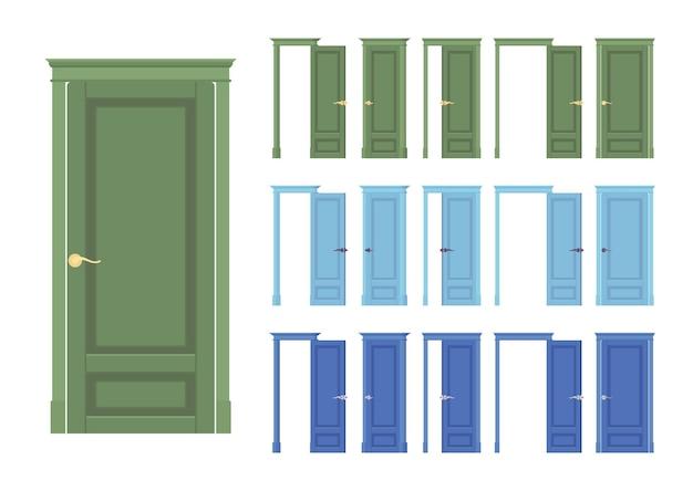 Puertas a ras de conjunto clásico, madera con vidrio, entrada a edificio, sala