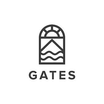 Puertas con sol, montaña y contorno de olas, simple, elegante, creativo, geométrico, diseño de logotipo moderno.