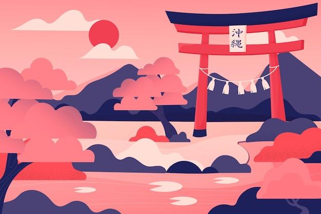 Puertas torii japonesas y montañas
