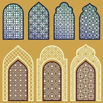 Puertas y ventanas islámicas con conjunto de patrones de arte árabe.