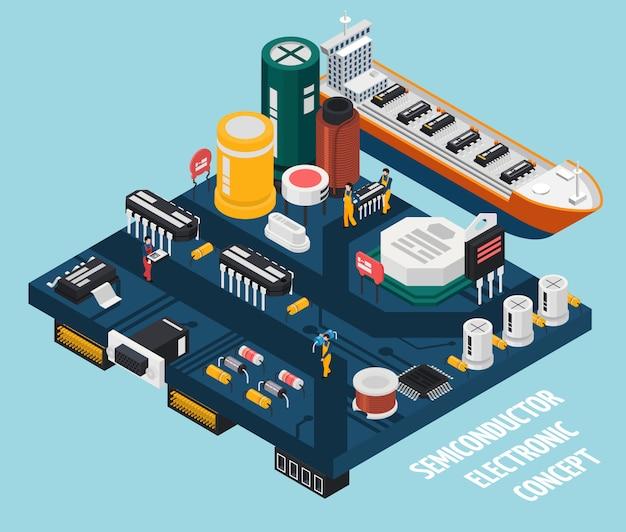Puerto de componentes electrónicos de semiconductores