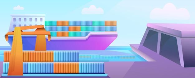 Puerto de dibujos animados con barco cargado con muelles y grúas, ilustración vectorial