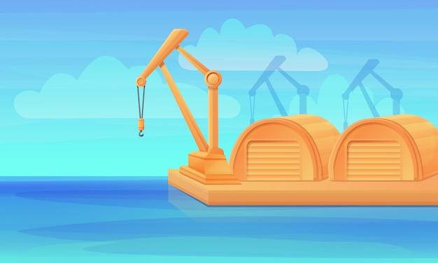 Puerto de dibujos animados con grúas y hangares, ilustración vectorial