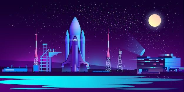 Puerto espacial, base por la noche con cohete