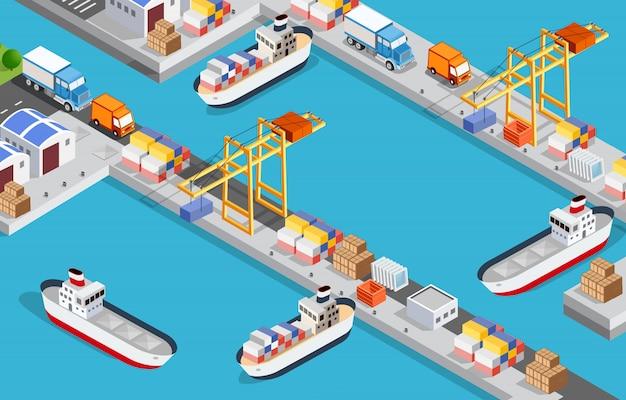 Puerto industrial de la ciudad isométrica con ilustración 3d de barco de transporte