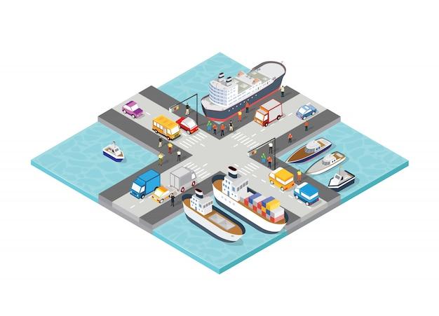 Puerto isométrico barco puerto turístico con personas