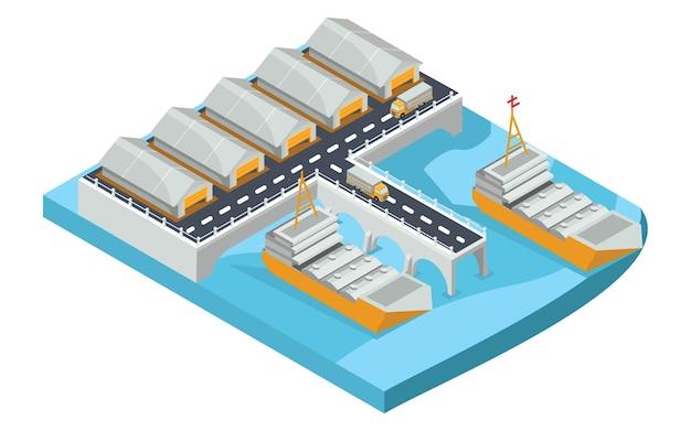 Puerto isométrico de mercancías, ilustración vectorial
