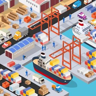 Puerto isométrico del puerto de carga del buque de carga en el mar con el buque de transporte de contenedores de la grúa logística