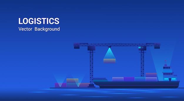 Puerto de metrópolis transporte marítimo logístico. rascacielos en la costa, buque de carga con contenedores de envío, negocio global, concepto de comercio internacional