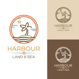 Puerto. tierra y mar. ilustraciones con palma en la isla