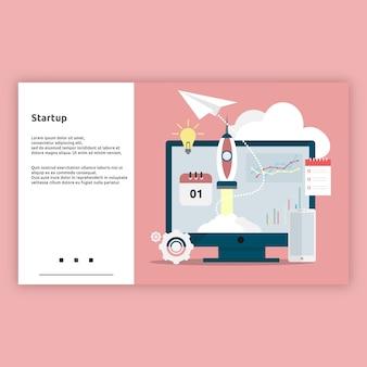 Puesta en marcha. concepto de diseño plano de ilustración de página de destino para negocios, negocios en línea, inicio, comercio electrónico y mucho más