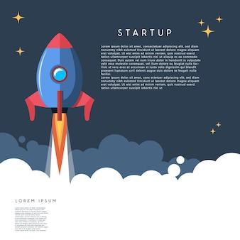 Puesta en marcha. ilustración de lanzamiento de cohetes en estilo de dibujos animados. imagen