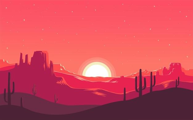 Puesta de sol en el desierto. salida del sol sobre el desierto. cielo estrellado sobre la arena.