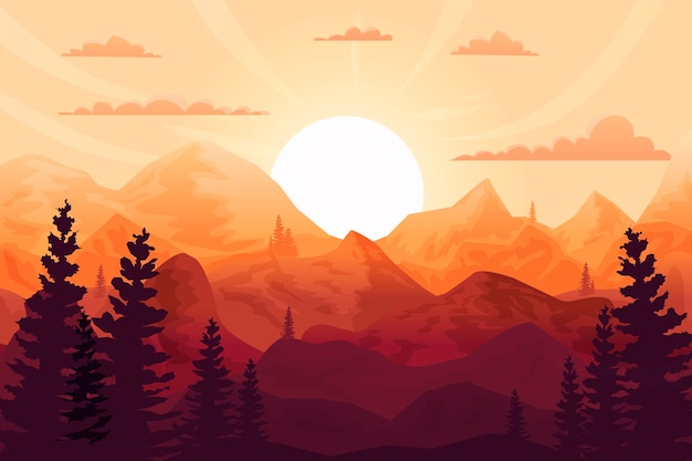 Puesta de sol de fondo en las montañas