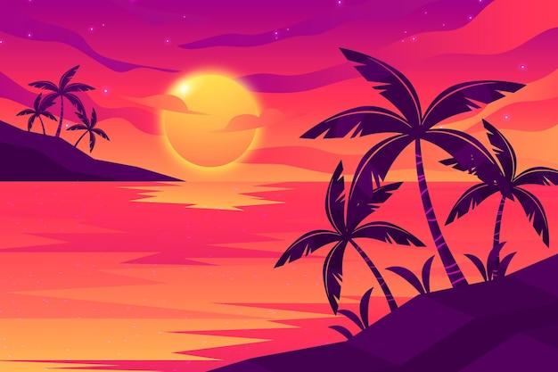 Puesta de sol con fondo de palmeras