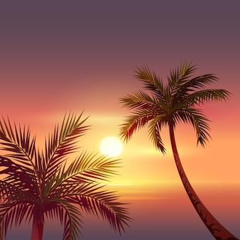 Puesta de sol en la isla tropical. silueta negra de palmera en cielo rojo
