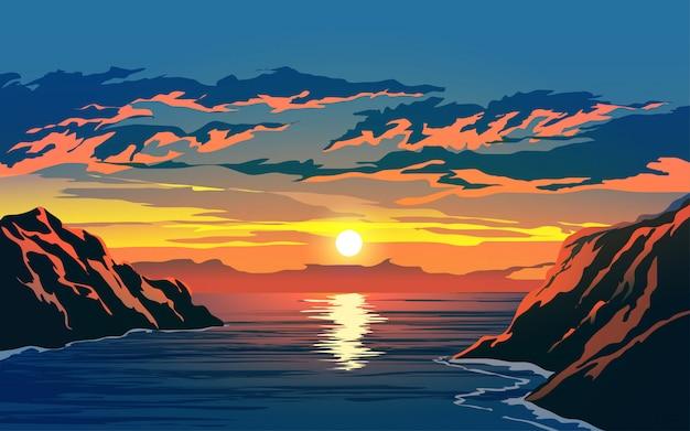 Puesta de sol en el océano con acantilado