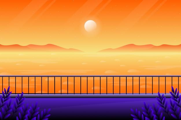 Puesta de sol de paisaje con fondo de vista al mar, paisaje de vista al mar