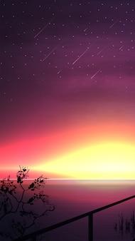 Puesta de sol sobre el horizonte del mar. vector paisaje con un hermoso cielo estrellado amarillo-rosa con meteoritos