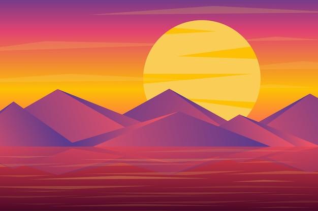 Puesta de sol sobre el paisaje de picos de las montañas en estilo plano