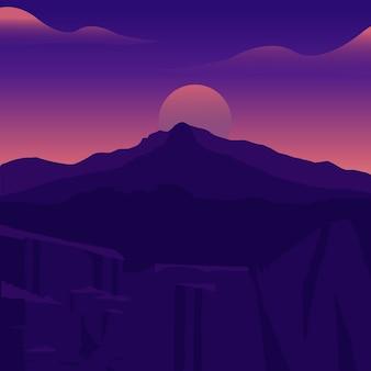 Puesta de sol, el sol del amanecer sobre las montañas