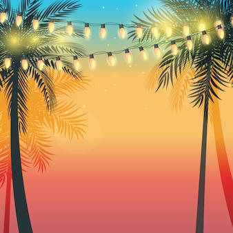 Puesta de sol de vacaciones de verano con hojas de palmera y bombillas de lámpara amarilla garland. ilustración