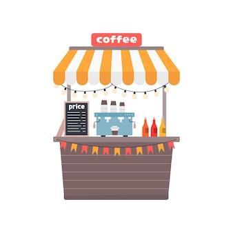 Puesto de café, tienda de la calle, ilustración vectorial de estilo plano sobre fondo blanco.