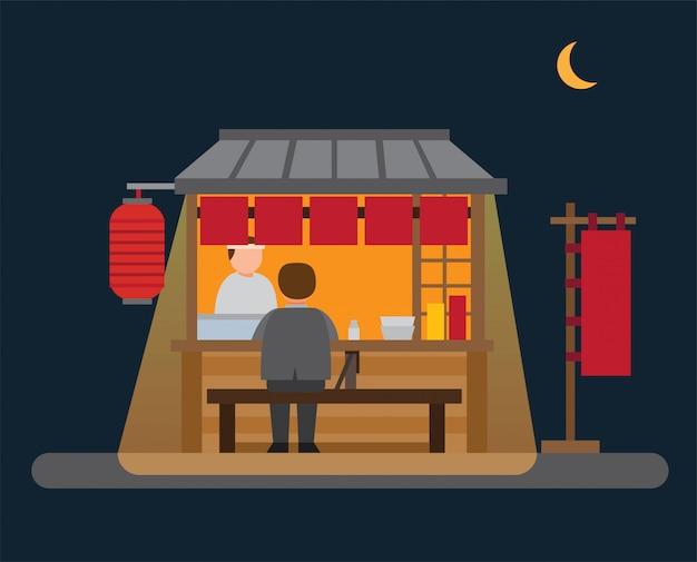 Puesto de comida japonesa, vendedor ambulante en la noche ilustración plana