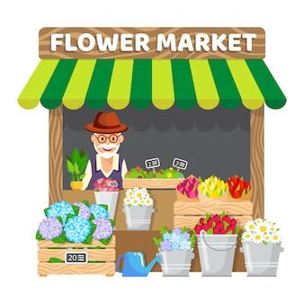 Puesto de flores, mercado plano ilustración vectorial