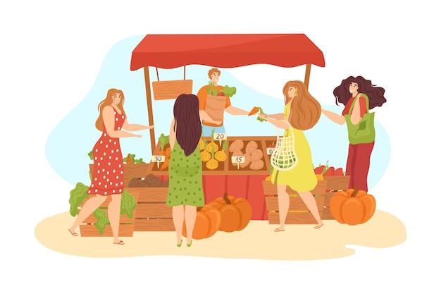 Puesto de mercado en la calle con alimentos y verduras se encuentra aislado en blanco. puesto de mercado, gente de compras y mujer que vende verduras y frutas orgánicas frescas. mercado.