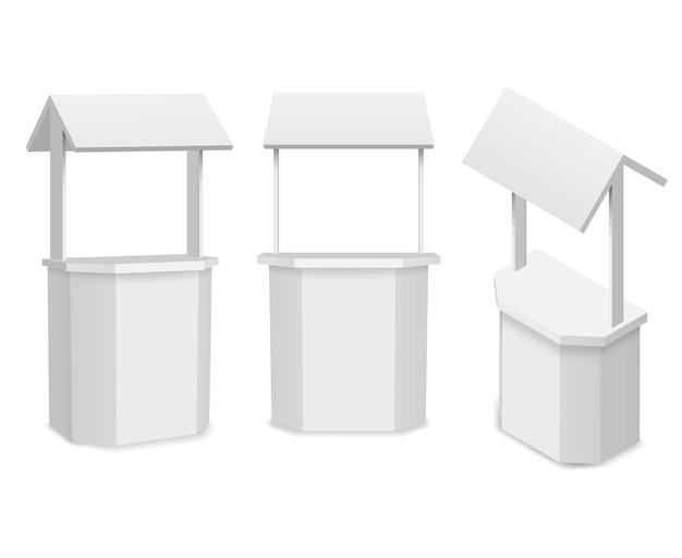 Puesto de mercado o mostrador de venta al por menor para su información o promoción comercial.