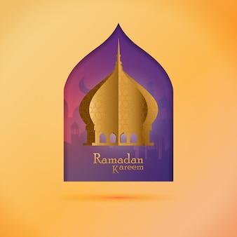 Puesto de saludo de ramadán - ramadán kareem con la mezquita dorada